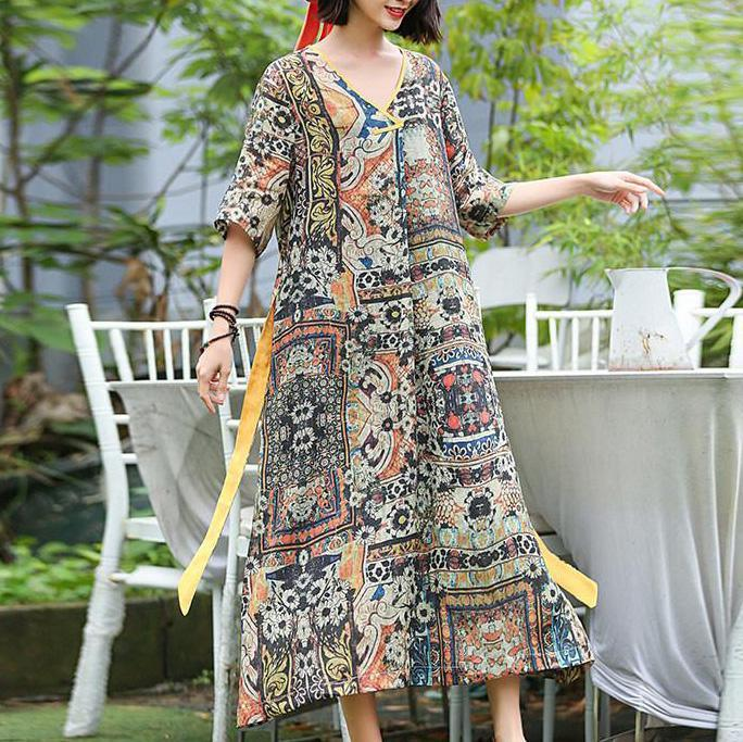 Women linen dresses plus size Loose Print Vintage Floral Dress