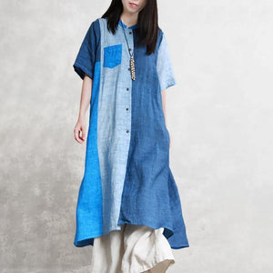 Women linen outfit Boho Summer Half Sleeve Color Matching Outerwear