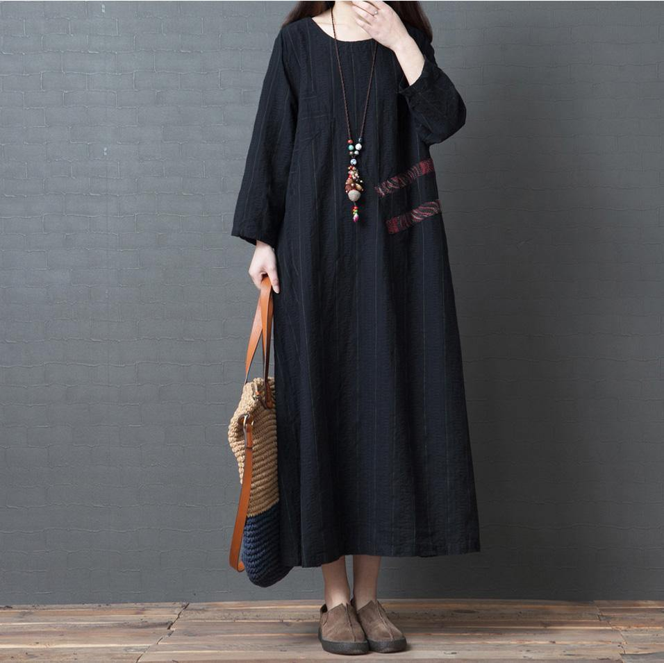 Women long sleeve cotton clothes Plus Size Outfits black Maxi Dress o neck