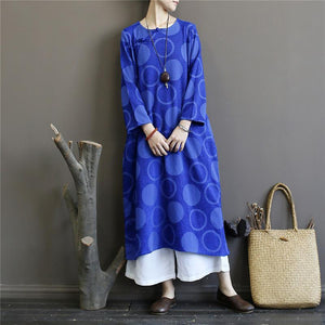 Women long sleeve cotton spring tunic top Sewing blue Vestidos De Lino Dress