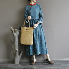 Load image into Gallery viewer, Women long sleeve linen cotton patchwork stand collar Wardrobes Tunic Tops blue floral Dress
