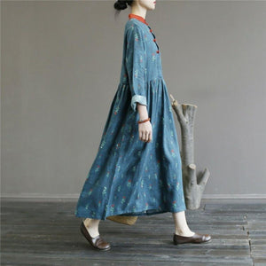 Women long sleeve linen cotton patchwork stand collar Wardrobes Tunic Tops blue floral Dress