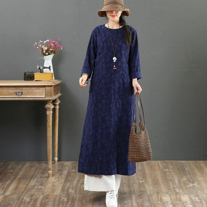 Women o neck Jacquard linen cotton quilting clothes Fabrics navy Dresses summer