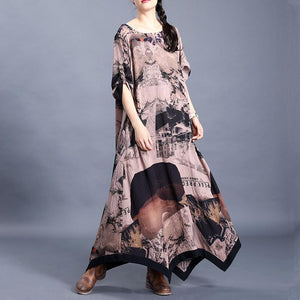 Women o neck asymmetric clothes pattern chocolate print Kaftan Dresses