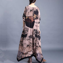 Load image into Gallery viewer, Women o neck asymmetric clothes pattern chocolate print Kaftan Dresses