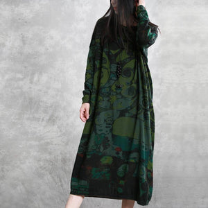 Women o neck baggy cotton spring tunic dress Ward robes green print Dresses