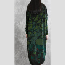 Load image into Gallery viewer, Women o neck baggy cotton spring tunic dress Ward robes green print Dresses