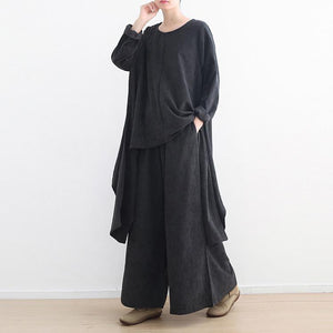 Women o neck black tunic top cotton Blouse stylish Photography and wide leg pants