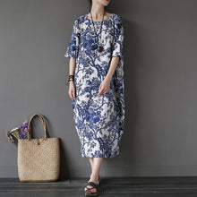 Load image into Gallery viewer, Women o neck cotton linen summer clothes For Women Photography blue prints Dresses