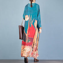 Load image into Gallery viewer, Women o neck half sleeve clothes Women Sewing blue print A Line Dress