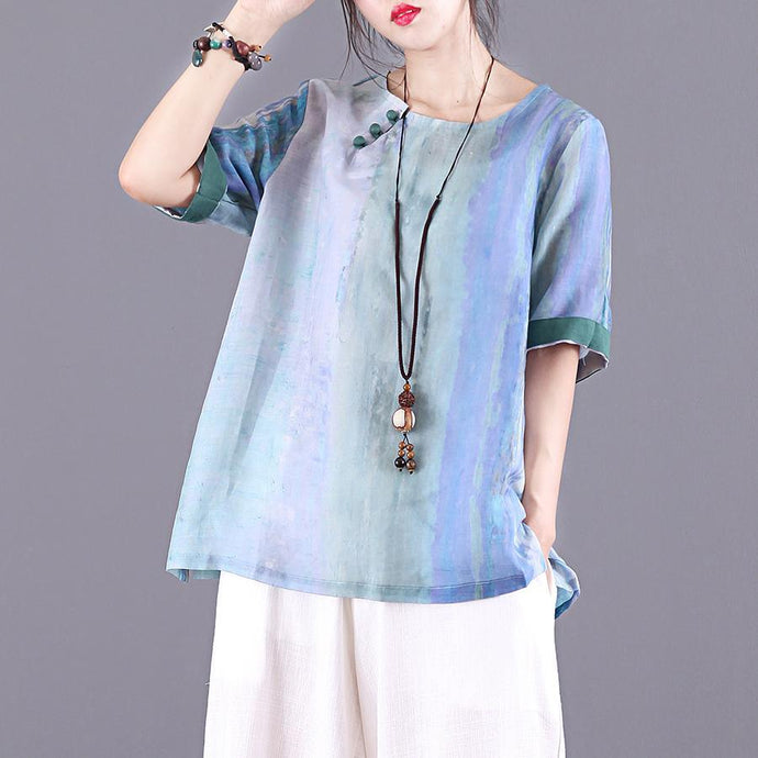 Women o neck half sleeve linen clothes For Women Sewing blue print shirt summer