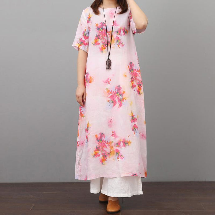 Women o neck linen Robes Wardrobes pink prints Dresses summer