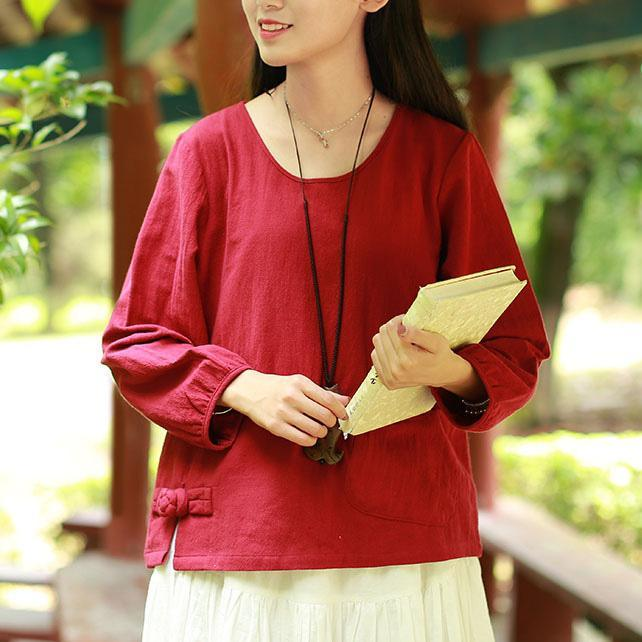 Women o neck linen clothes For Women pattern red blouses fall