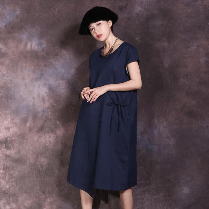 Women o neck linen dresses Photography blue Dress summer