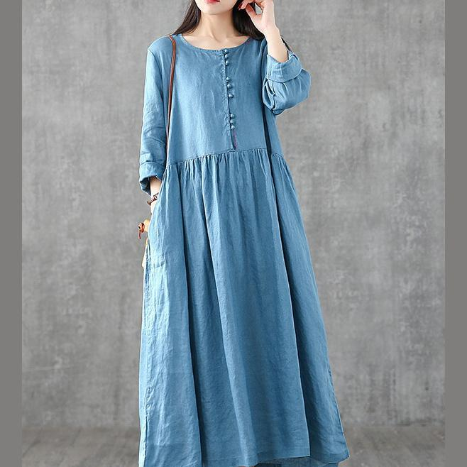 Women o neck patchwork linen dresses Shirts blue Dresses