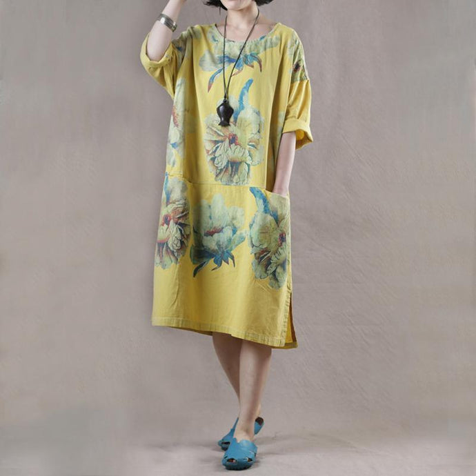 Women o neck pockets linen cotton dresses Wardrobes yellow print Dresses summer