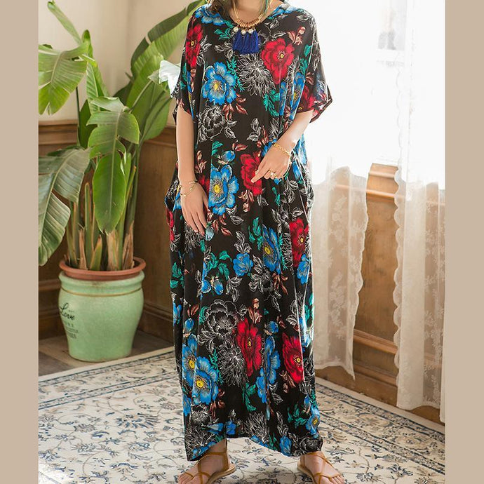 Women o neck pockets quilting clothes Runway floral Art Dress