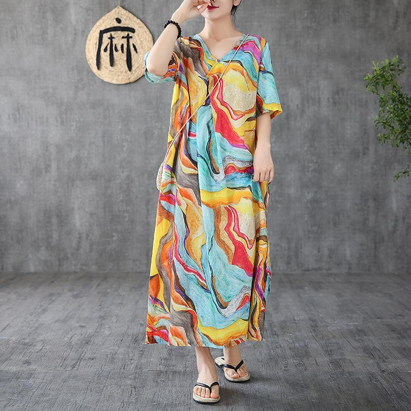 Women o neck short sleeve linen Long Shirts Sewing yellow print Dress