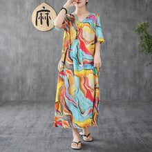 Load image into Gallery viewer, Women o neck short sleeve linen Long Shirts Sewing yellow print Dress