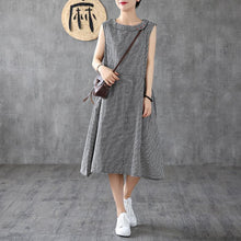 Load image into Gallery viewer, Women o neck sleeveless cotton linen clothes Women Shirts black white plaid Dress