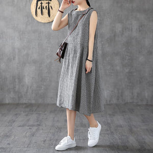 Women o neck sleeveless cotton linen clothes Women Shirts black white plaid Dress