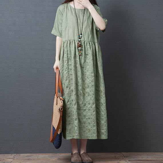 Women o neck wrinkled linen Long Shirts Outfits green Dress summer