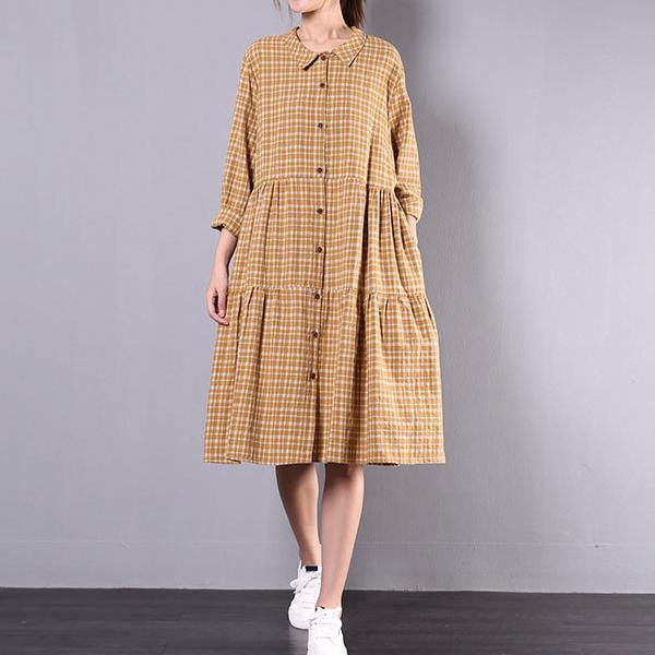 Women patchwork Cotton plaid Wardrobes Work yellow Dress
