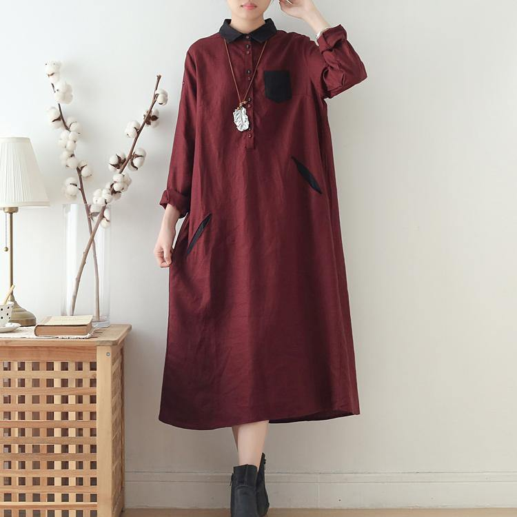 Women patchwork POLO collar linen cotton clothes Sewing burgundy Dresses fall