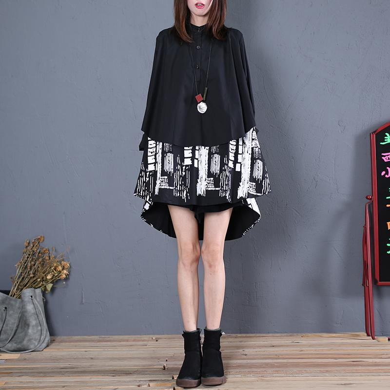 Women patchwork cotton clothes For Women Fabrics black long blouse fall