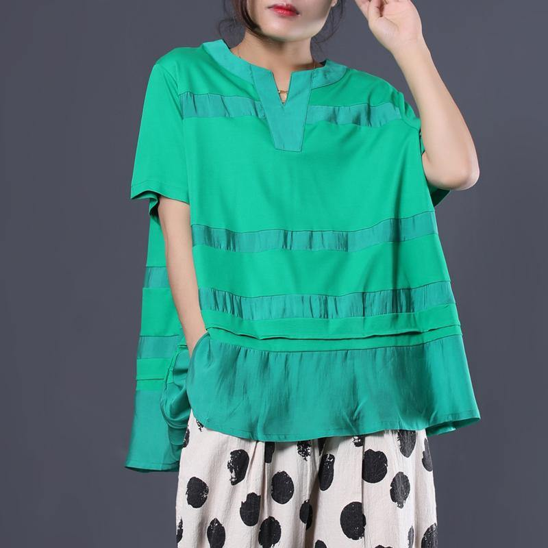 Women patchwork cotton tunic top Cotton green v neck blouses summer