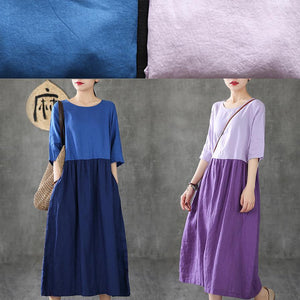 Women patchwork half sleeve linen dresses Fashion Ideas blue Dress summer