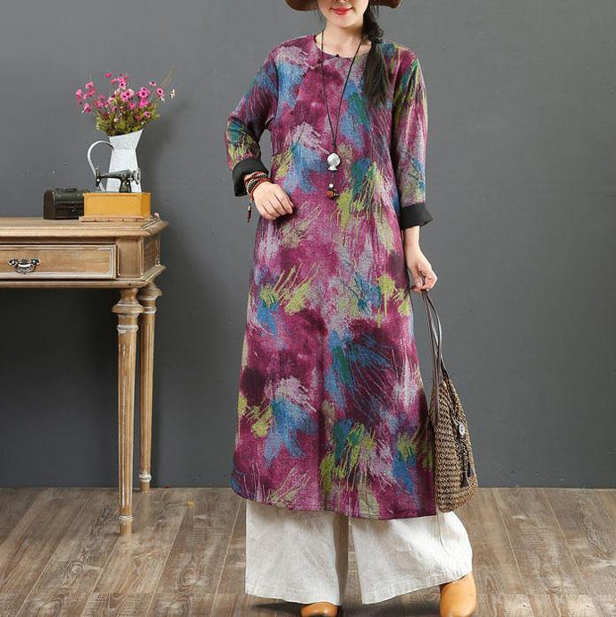 Women purple print cotton outfit o neck pockets long fall Dress