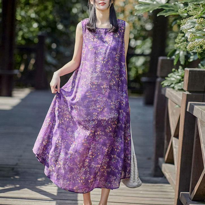Women purple print linen Robes o neck sleeveless cotton summer Dresses