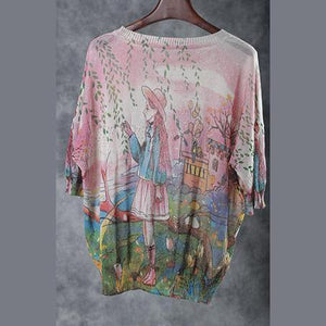 Women quilting dresses Vintage Summer Loose Printed Hollow Out Knit Blouse