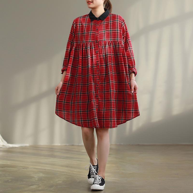 Women red Plaid Cotton quilting dresses Stitches Photography pockets baggy Dress