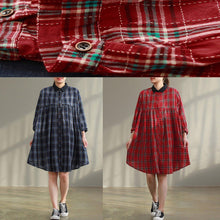 Laden Sie das Bild in den Galerie-Viewer, Women red Plaid Cotton quilting dresses Stitches Photography pockets baggy Dress