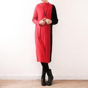 Women red Sweater Aesthetic Upcycle oversized high neck patchwork knit dress