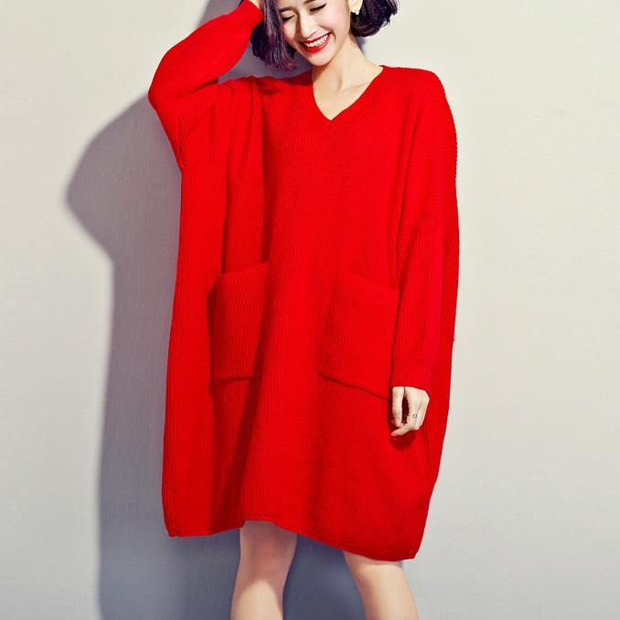 Women red Sweater dress outfit Quotes v neck DIY knitwear big pockets