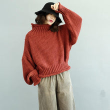 Load image into Gallery viewer, Women red Sweater fall tunic knitwear high neck