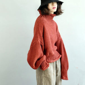 Women red Sweater fall tunic knitwear high neck