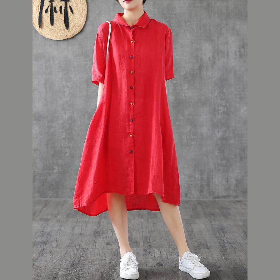 Women red linen Robes lapel Button Down linen robes Dress