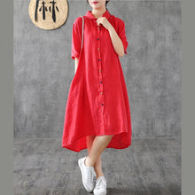 Load image into Gallery viewer, Women red linen Robes lapel Button Down linen robes Dress