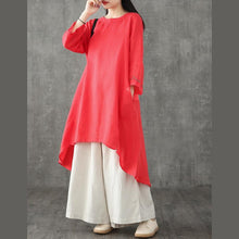 Load image into Gallery viewer, Women red linen dress o neck patchwork linen robes summer Dresses