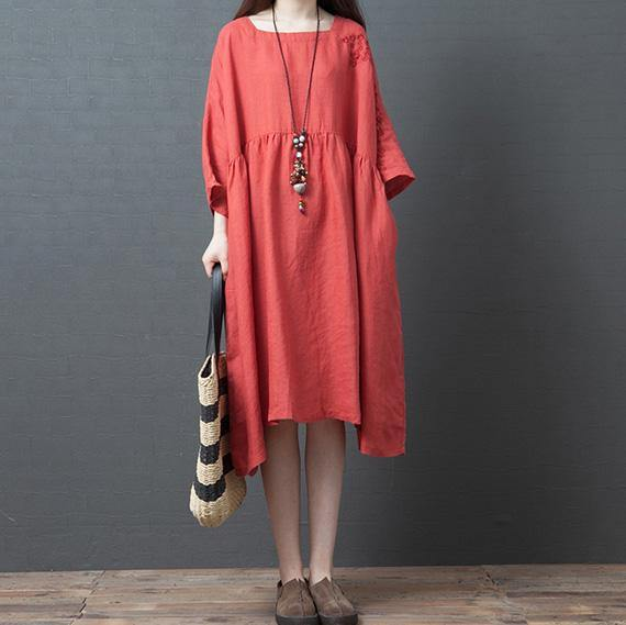 Women red linen outfit Square Collar half sleeve Knee summer Dresses