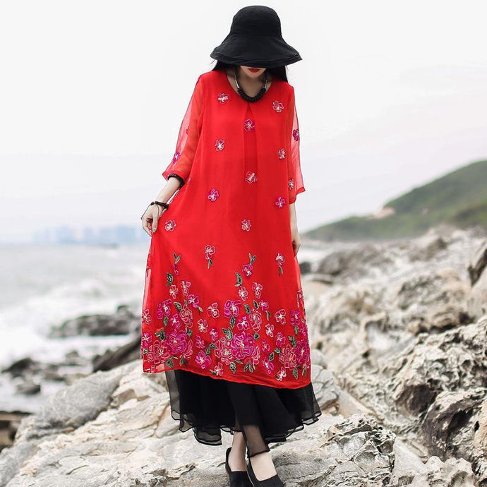 Women red print cotton linen clothes For Women o neck layered tulle long summer Dresses
