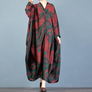 Women red print tunic top v neck Batwing Sleeve Plus Size Dresses