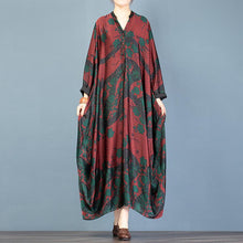 Load image into Gallery viewer, Women red print tunic top v neck Batwing Sleeve Plus Size Dresses