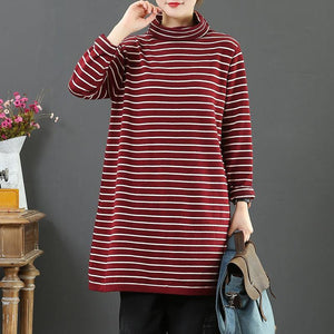 Women red striped sweater tops high neck plus size wild knitwear