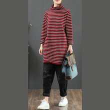 Load image into Gallery viewer, Women red striped sweater tops high neck plus size wild knitwear