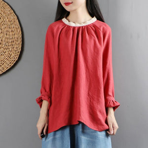 Women ruffles o neck linen long sleeve tops women blouses Cotton red top
